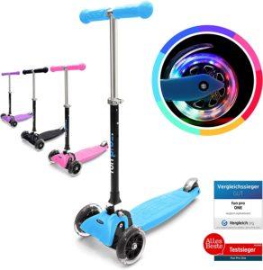 fun pro ONE - der sichere Premium Kinderroller, Vergleichstestsieger, LED Räder, faltbar, ab Kleinkind für Junge und Mädchen